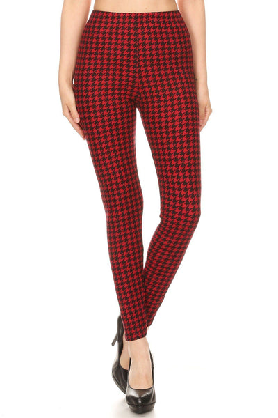 Hounds Tooth Print, High Rise, Fitted Leggings, With An Elastic Waistband - Kimmie Jean