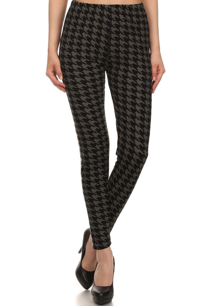 High Waisted Hound Tooth Printed Knit Legging With Elastic Waistband - Kimmie Jean