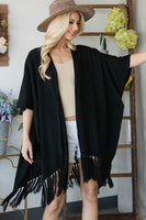 Draped Poncho Cardigan With String Detail - Kimmie Jean