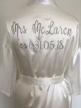 White Personalised Satin Robe