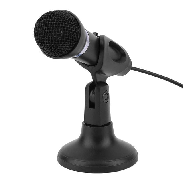 Computer Notebook Desktop Microphone KTV-307 Wire Karaoke Handheld Microphone 3.5mm Mic With Base For Singing Recording