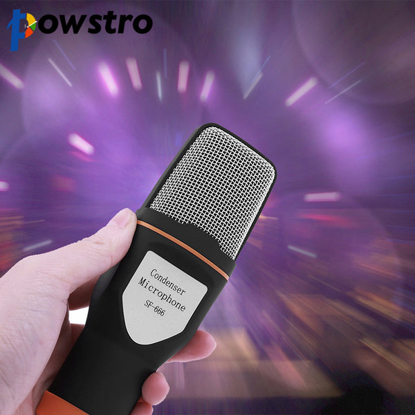 Powstro Condenser Tripod Clip Microphone Professional 3.5mm Stereo for Video Recording for Skype MSN Chatting Singing Karaoke