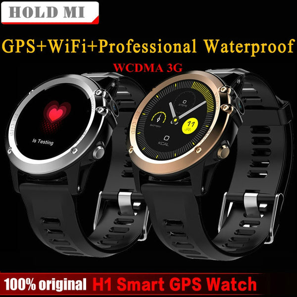 "H1 Smart Watch Android 4.4 Waterproof 1.39"" MTK6572 BT 4.0 3G Wifi GPS SIM For iPhone Smartwatch Men Wearable Devices"