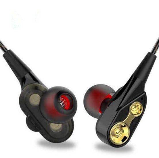 Dual Unit In-Ear Headphones Subwoofer Stereo With Microphone Sports Headphones