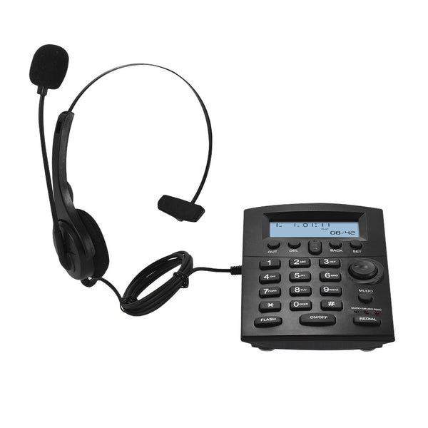 HST-8000 English Telephone Set Call Center Telephone With Protecting Earphone Flexible Microphone LCD Display Pre-dial Call Back Mute Flash Redial Functions with Recording Interface