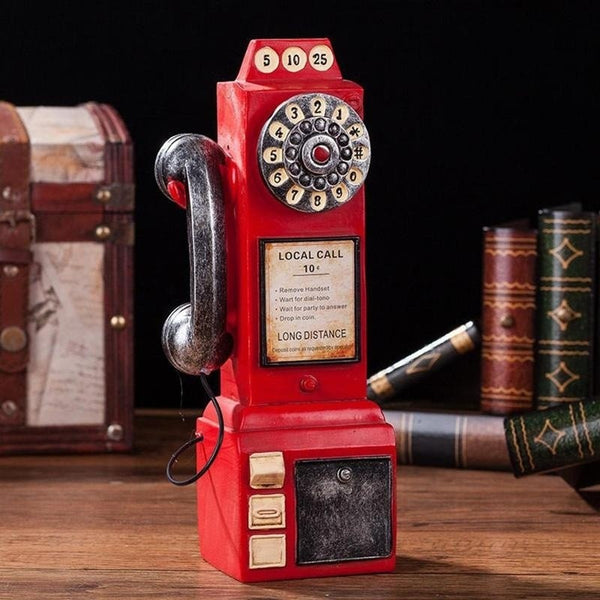 Red Pay Phone Classic Vintage Wall Telephone Coin Mount Retro Payphone Booth Antique