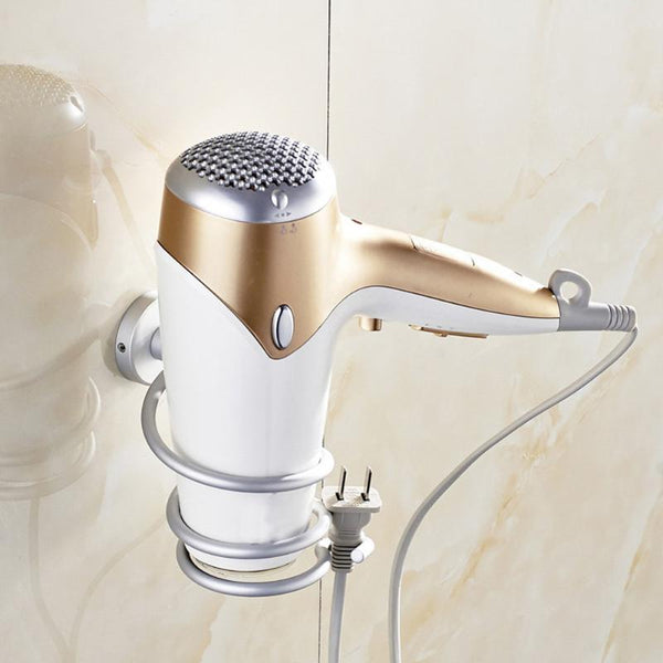 Bathroom Hair Dryer Rack Aluminum Wall-mounted Hairdryer Support Holder Space Save Shelf Multi-function Hanger