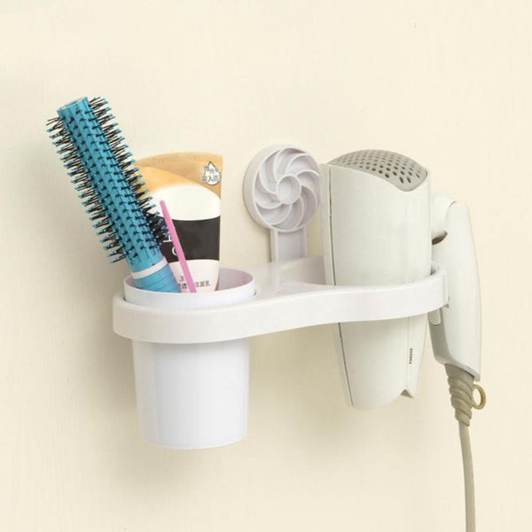 Bathroom Hair Dryer Rack Wall-mounted Storage Organizer Wall Shelf Hairdryer Spiral Support Holder Storage Racks