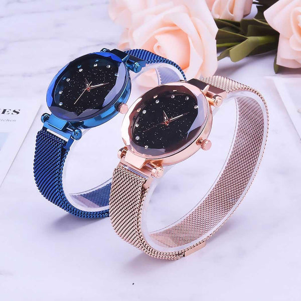Bracelet Women Easy Round Read Schedule Steel Bangle Band Stainless To Wrist Magnet Analog Quartz Watch Complete Fashion