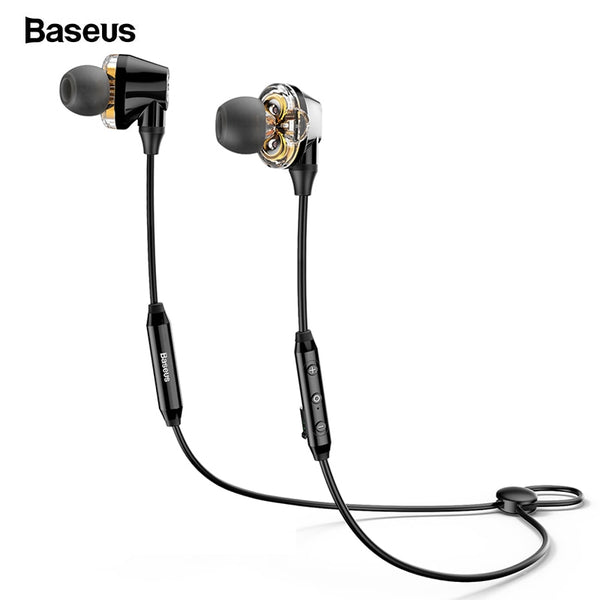 Baseus S10 Bluetooth Earphone Wireless Headphone For Phone IPX5 Dual Driver Headset With Mic Sport Earbuds Casque fone de ouvido