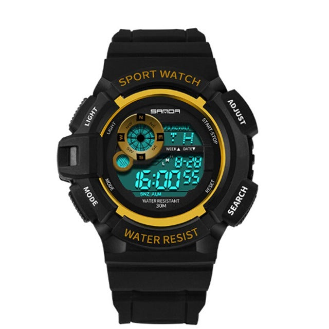 Fashion 3Bar CR2025 Round Watch Sport Waterproof Watch LED Casual Display Digital Multifunction Men Electronic Resistant