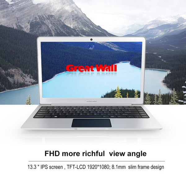 "Great Wall 13.3"" Laptops Windows 10 Intel Celeron N3350 2.4GHz 4GB RAM 64GB ROM 37W WIFI BT LAN Notebook 1920*1080 IPS"