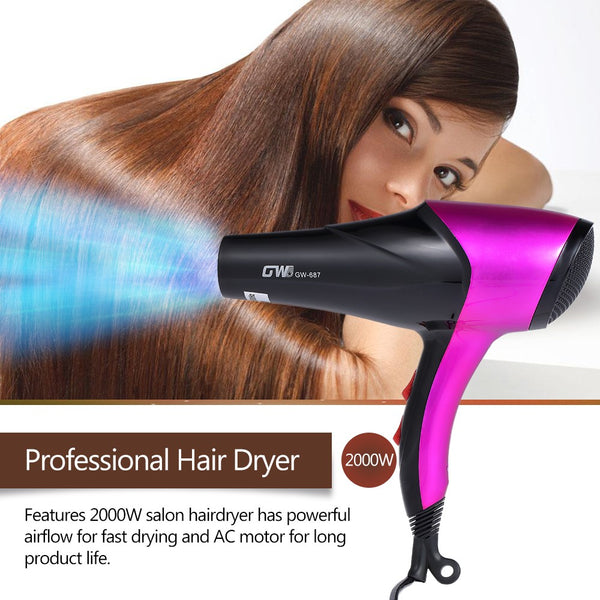 Pro Hair Dryer Hair Blow with Nozzle & Finger Diffuser for Hair Styling Salon Personal Hairdressing Tools EU Plug