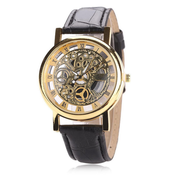 2019 Hollow Quartz Watch men Leather Brand Gold Mens Casual Dress Leather band Clock male Boys Trending Male clock relogio saat