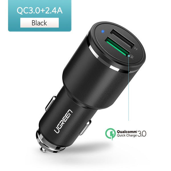 Ugreen Car Charger Dual USB Quick Charge 3.0 for iPhone X 8 QC 3.0 Car-Charger for Samsung Galaxy S9 Fast Phone Charger for LG