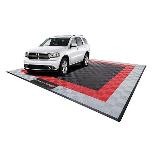 Swisstrax Dodge Two Car Garage Mat Black, Gray, Red