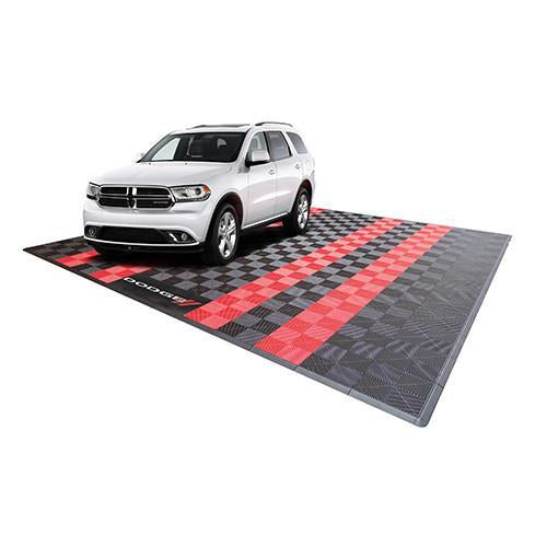 Swisstrax Dodge Two Car Garage Mat Black and Red