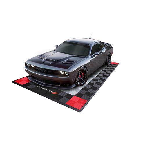 Challenger Parked on a Swisstrax Dodge Single Garage Mat & Parking Mat