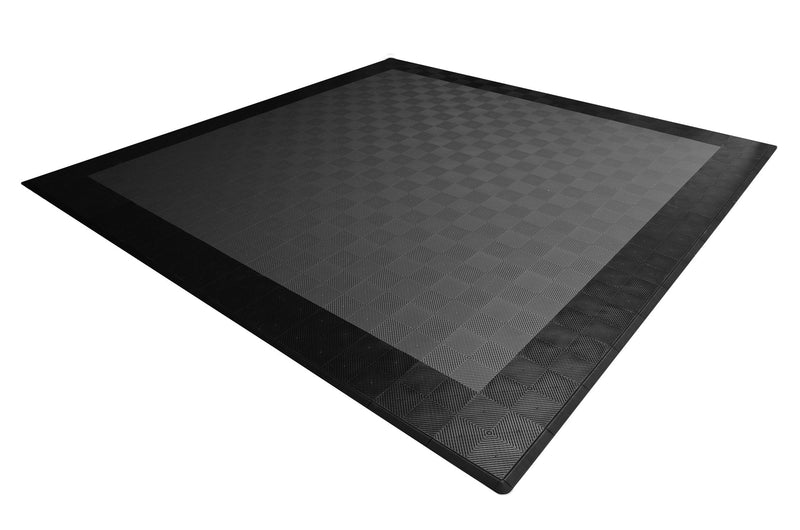 smooth Two Car Garage Mat Parking Mat Gray with Black Border top view