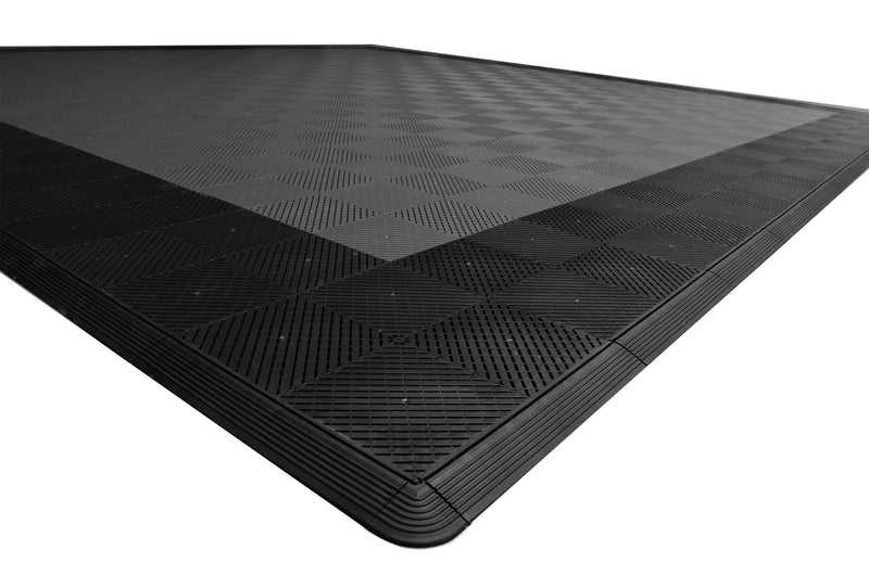 smooth Two Car Garage Mat Parking Mat Gray with Black Border closeup