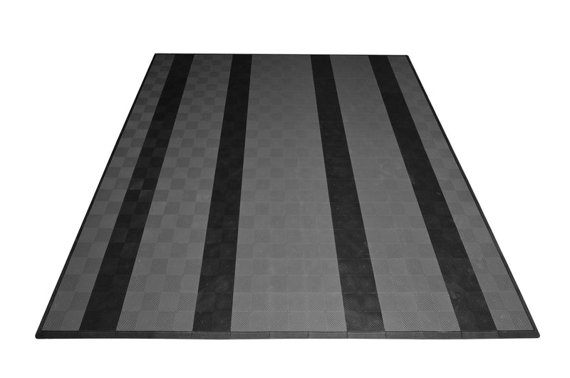 smooth Two Car Garage Mat Parking Mat Gray with Black Stripes front view