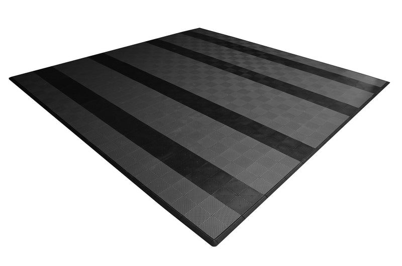 smooth Two Car Garage Mat Parking Mat Gray with Black Stripes angle view