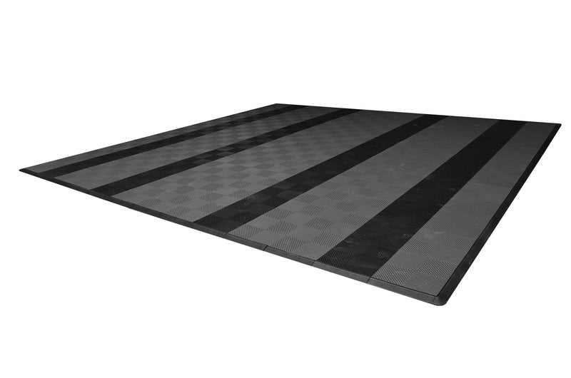 smooth Two Car Garage Mat Parking Mat Gray with Black Stripes side view