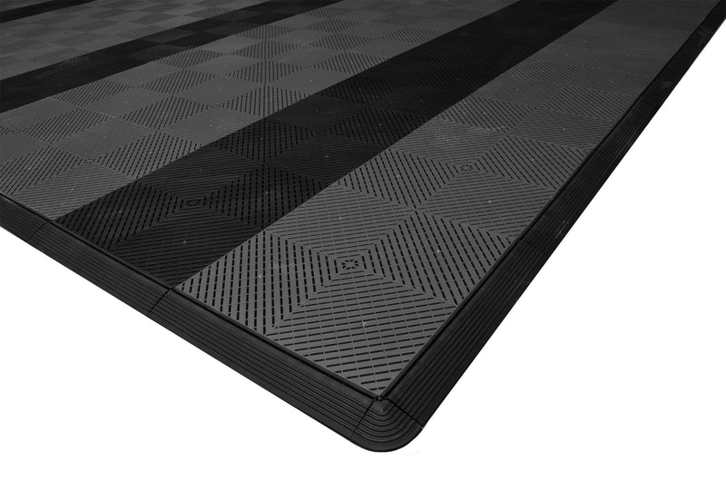 smooth Two Car Garage Mat Parking Mat Gray with Black Stripes closeup view