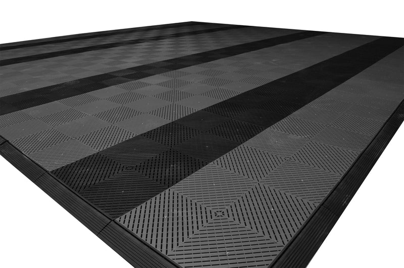 smooth Two Car Garage Mat Parking Mat Gray with Black Stripes closeup alt view
