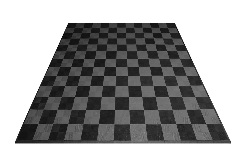 smooth Two Car Garage Mat Parking Mat Black and Gray Checkered front view