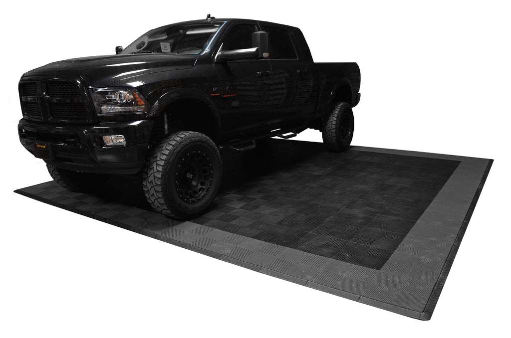 Ram Parked On smooth Two Car Garage Mat Parking Mat