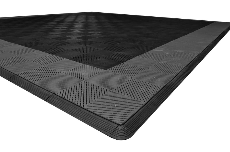 smooth Two Car Garage Mat Parking Mat Black with Gray Border closeup view