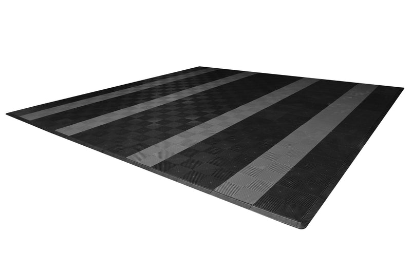 smooth Two Car Garage Mat Parking Mat Black with Gray Stripes side view