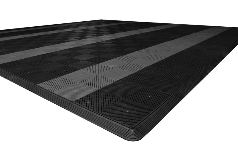smooth Two Car Garage Mat Parking Mat Black with Gray Stripes closeup view