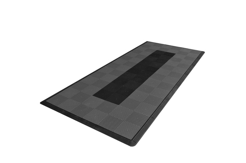 Motorcycle Mat Kit - Grey with Black Stripe smooth