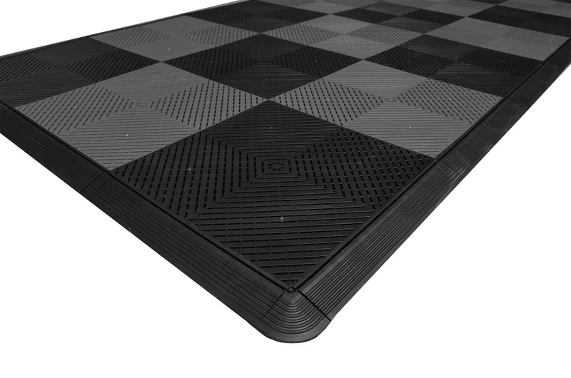 Motorcycle Mat Kit - Black & Grey Checkered smooth