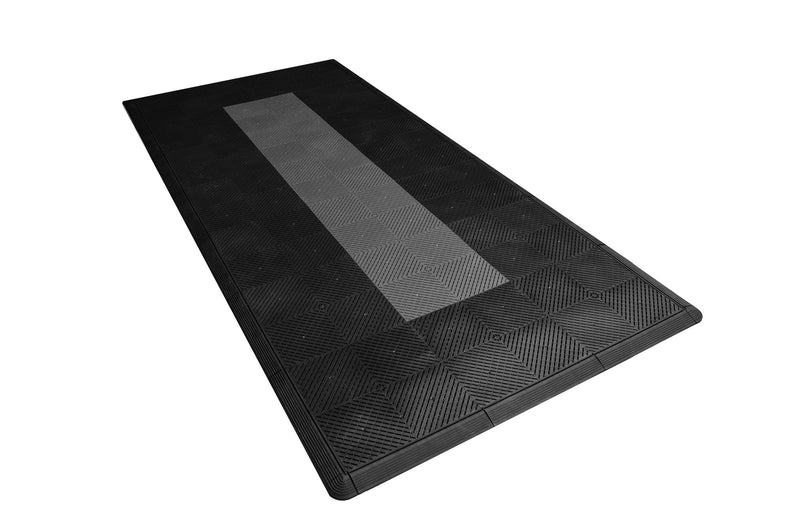 Motorcycle Mat Kit - Black with Grey Stripe smooth