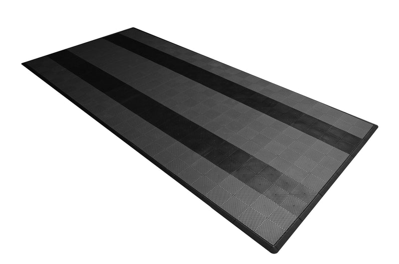 One car garage mat parking mat smooth gray with black stripes side view
