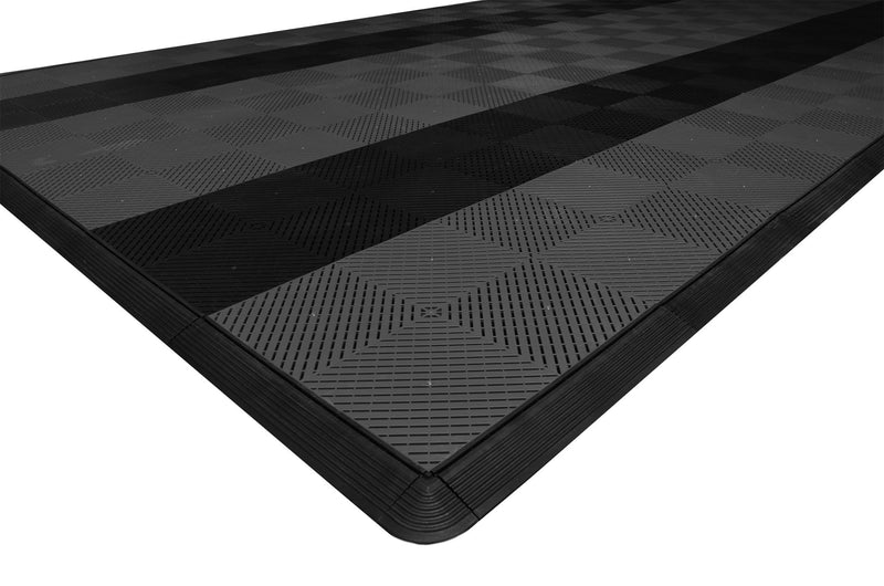 One car garage mat parking mat smooth gray with black stripes closeup