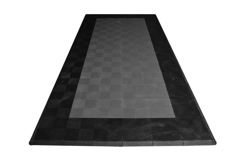One car garage mat parking mat smooth gray with black border front view