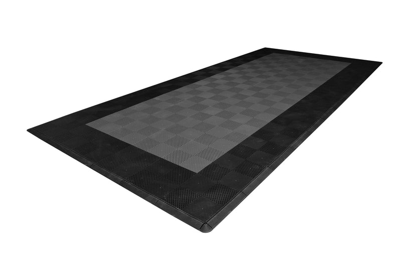 One car garage mat parking mat smooth gray with black border side view