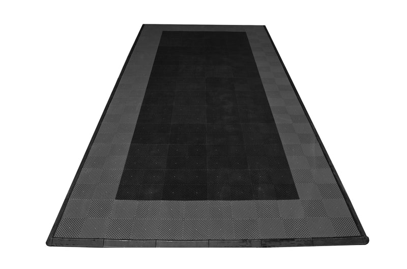 One car garage mat parking mat smooth black with gray border front view