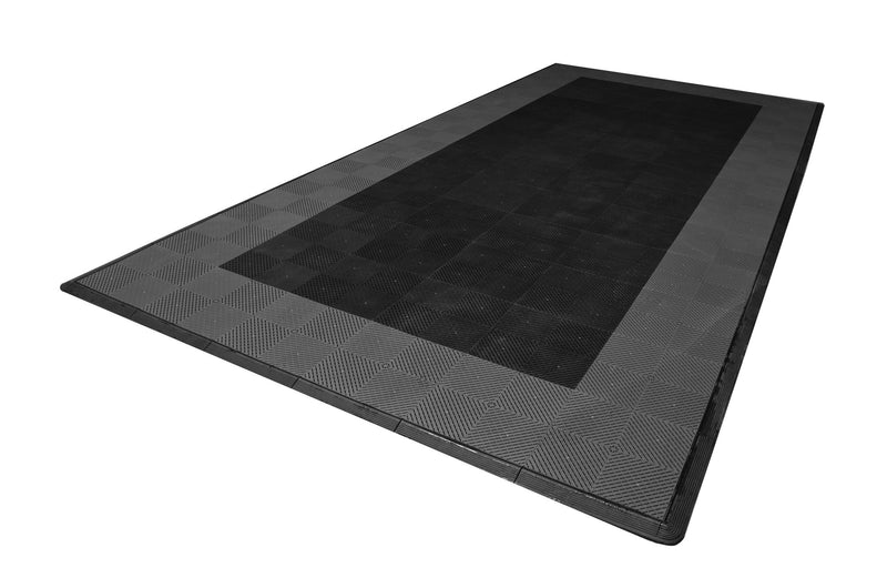 One car garage mat parking mat smooth black with gray border side view