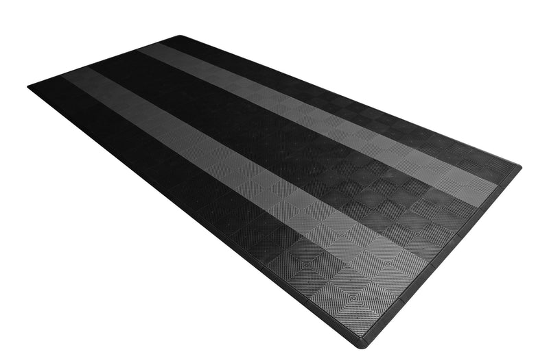 One car garage mat parking mat smooth black with gray stripes side view