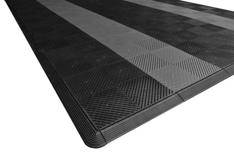 One car garage mat parking mat smooth black with gray stripes closeup