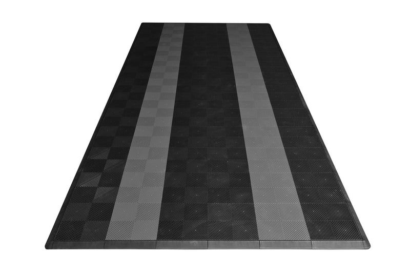 One car garage mat parking mat smooth black with gray stripes front view