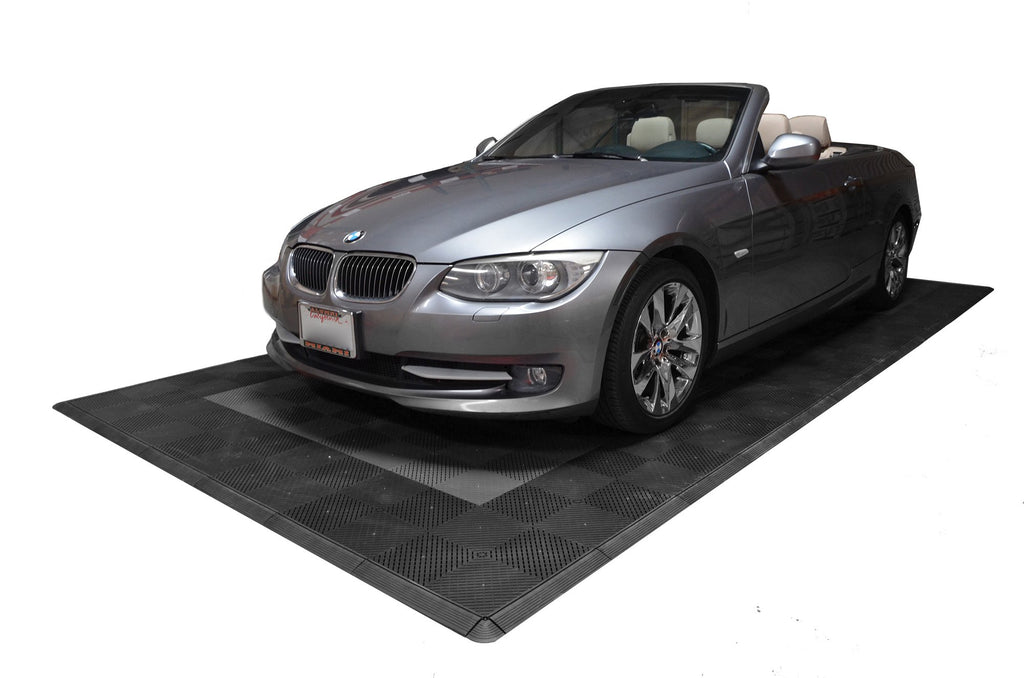 One car garage mat parking mat smooth grey with black border