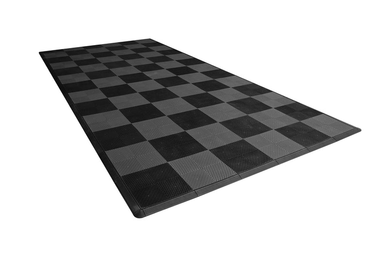 One car garage mat parking mat smooth gray and black checkered side view