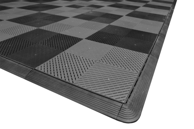 One car garage mat parking mat smooth gray and black checkered closeup
