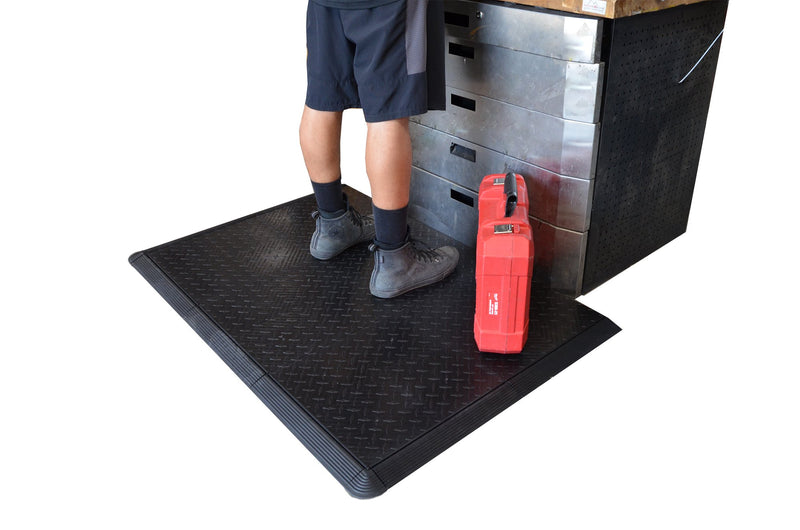 Standing on diamond plate anti-fatigue mat work mat